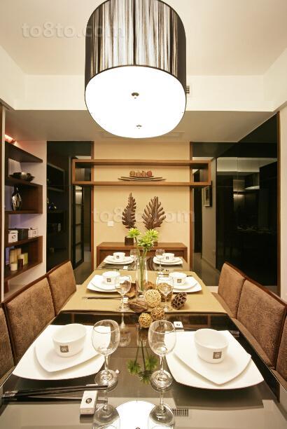 现代中式餐厅吊灯装修效果图