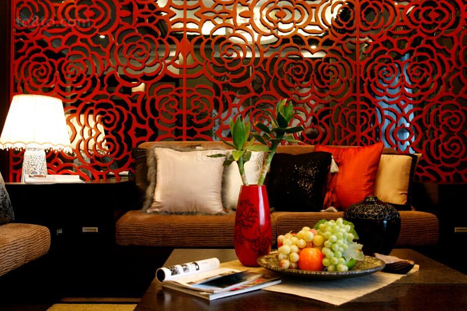 中式风格室内沙发背景隔断墙装修效果图