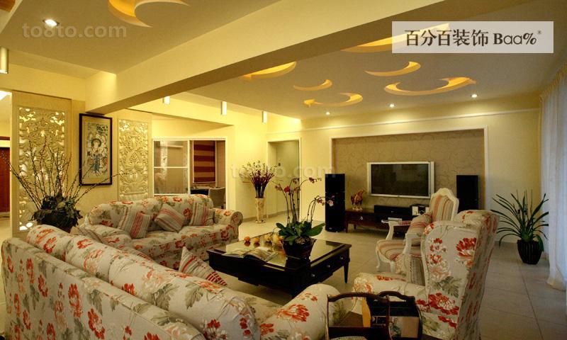 热门田园二居客厅装修设计效果图片欣赏