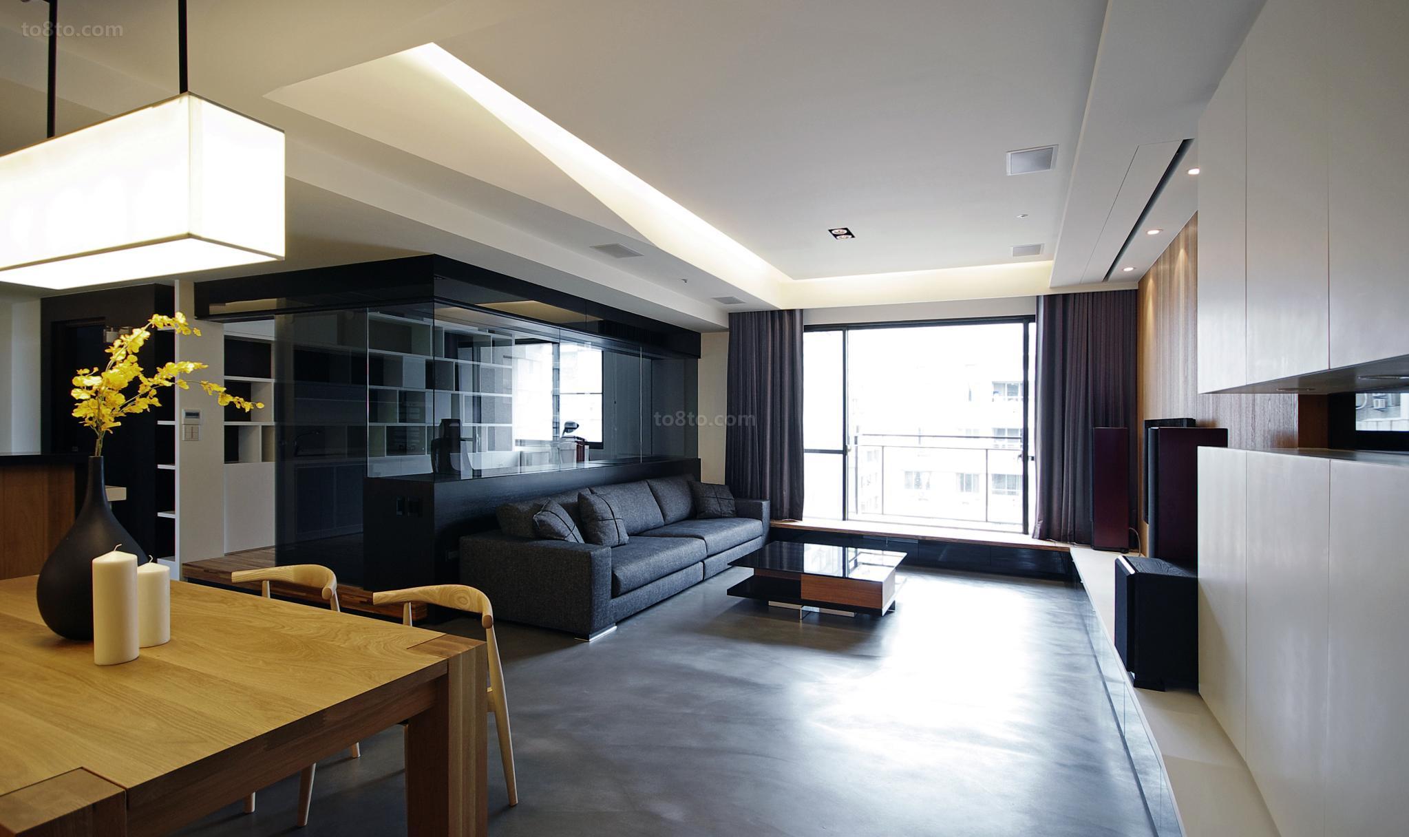 热门面积72平小户型客厅现代装修效果图片