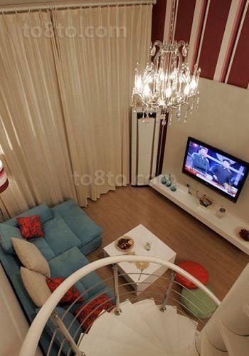 豪华复式客厅电视背景墙图片大全