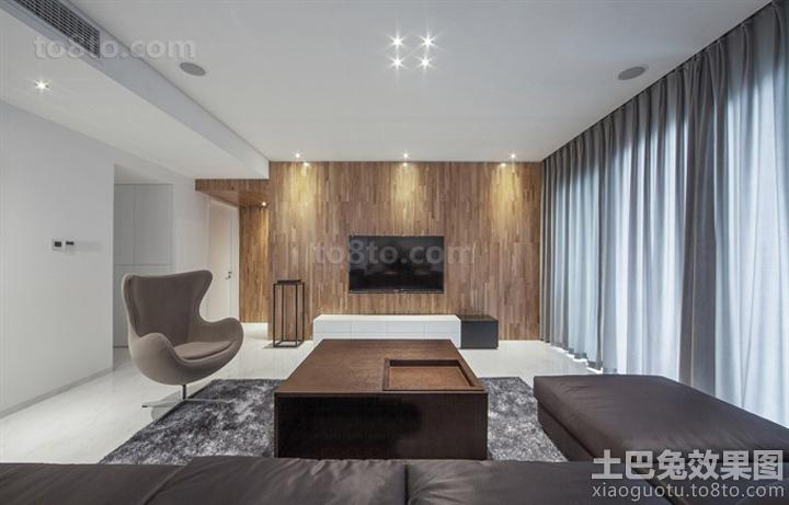 简约风格客厅木质电视背景墙装修效果图