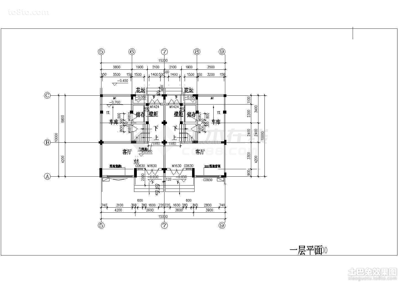 农村双拼别墅户型平面图