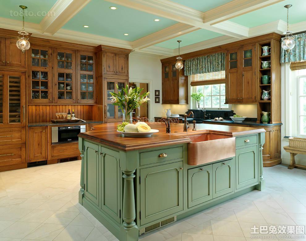 欧式田园风格整体厨房装修图片