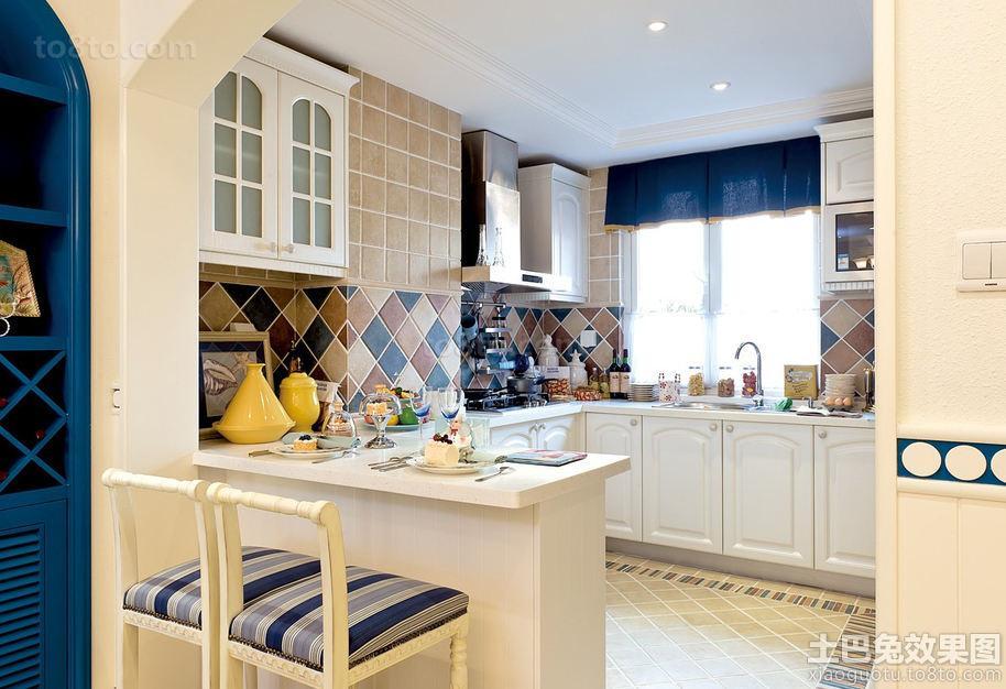 地中海风格隔断式厨房装修图片