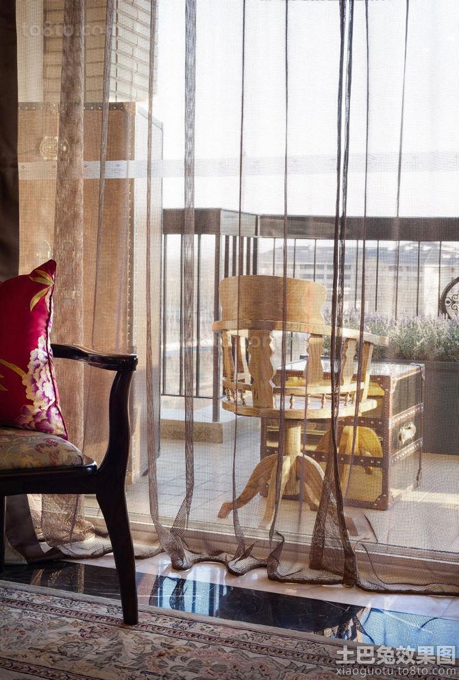 法式混搭客厅阳台隔断布帘图片