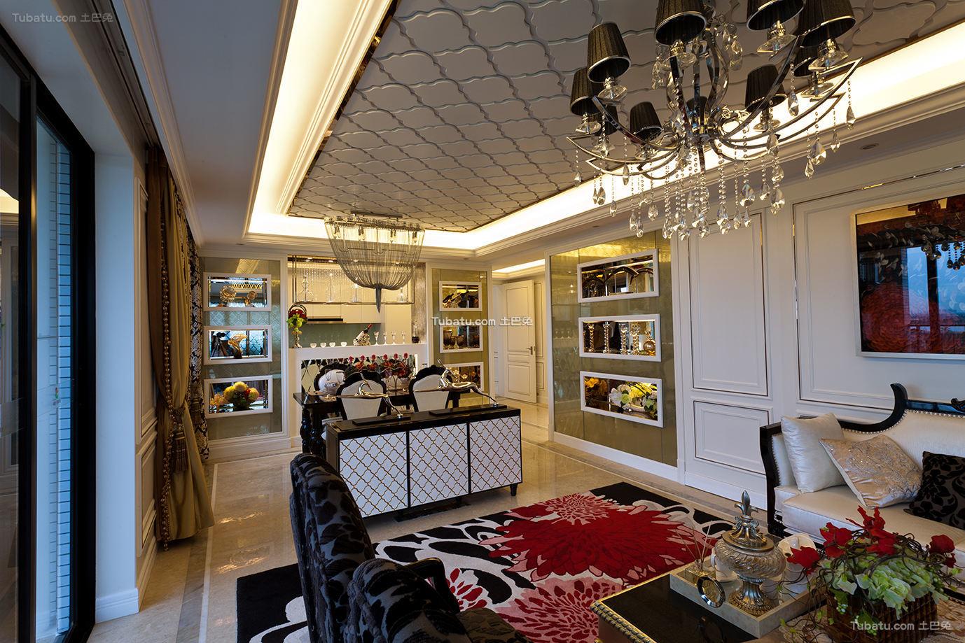 现代古典风格130平米四居室装修效果图大全