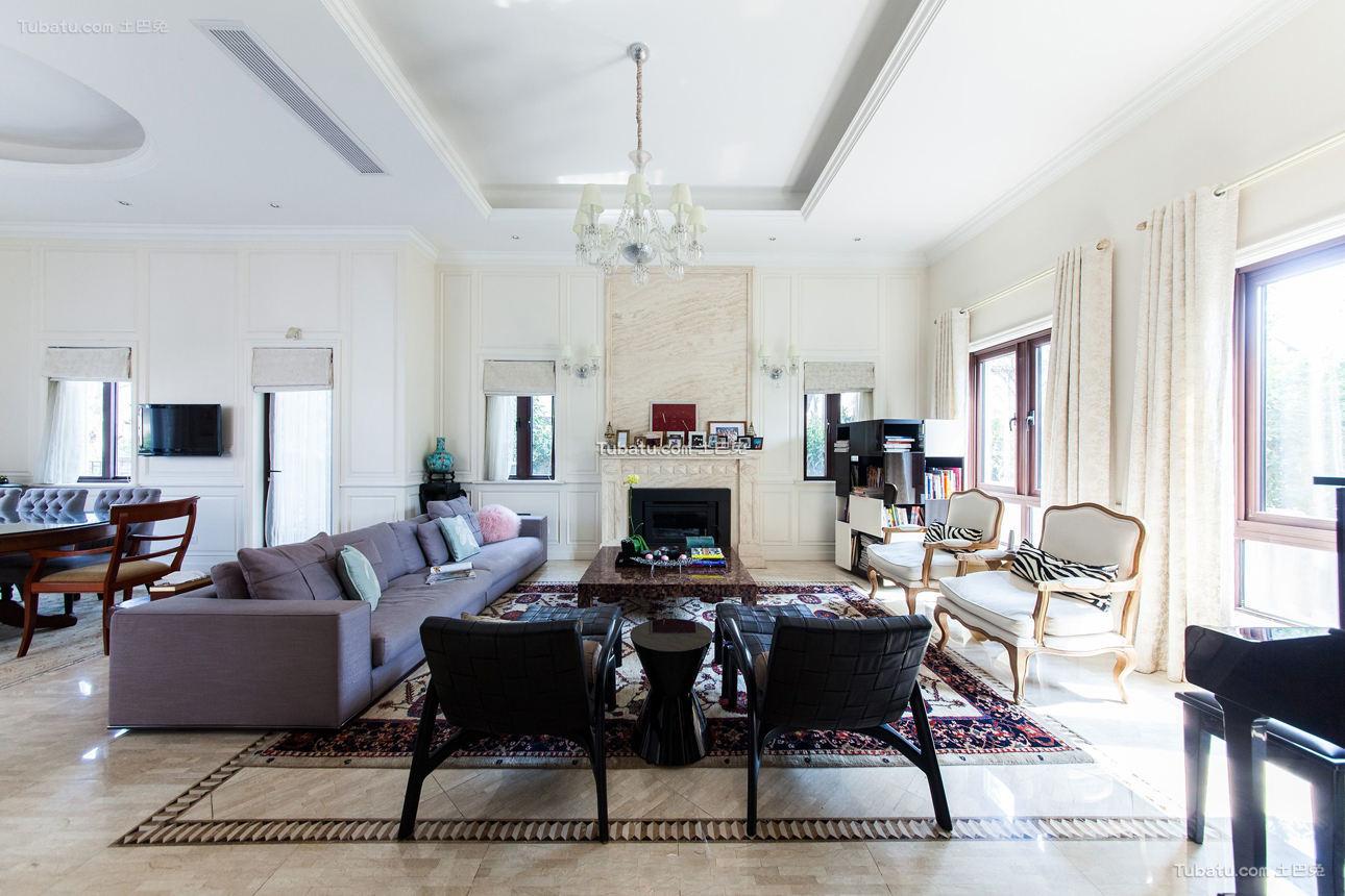 时尚美式别墅客厅装修设计图片