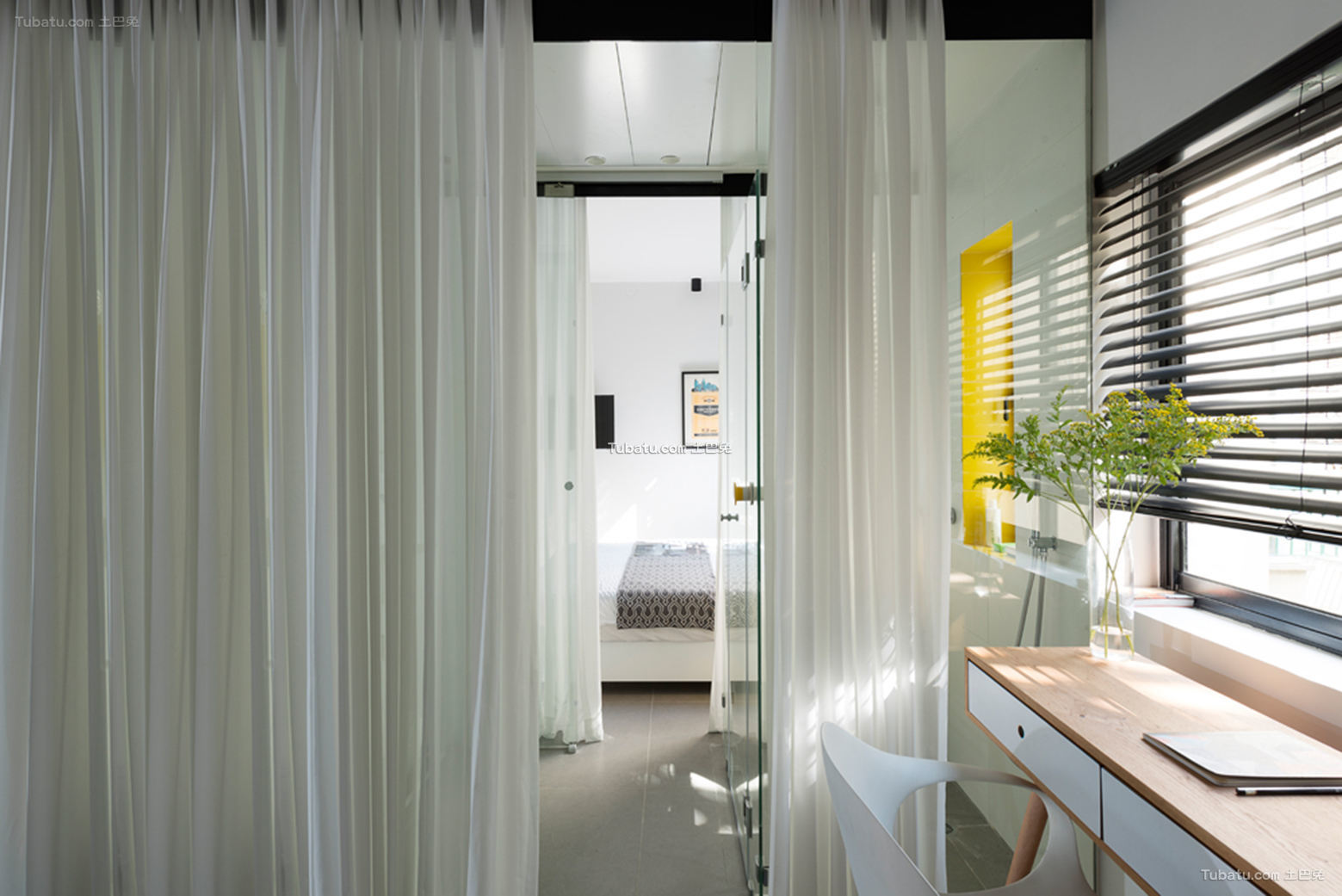 简约北欧设计书房窗帘效果图
