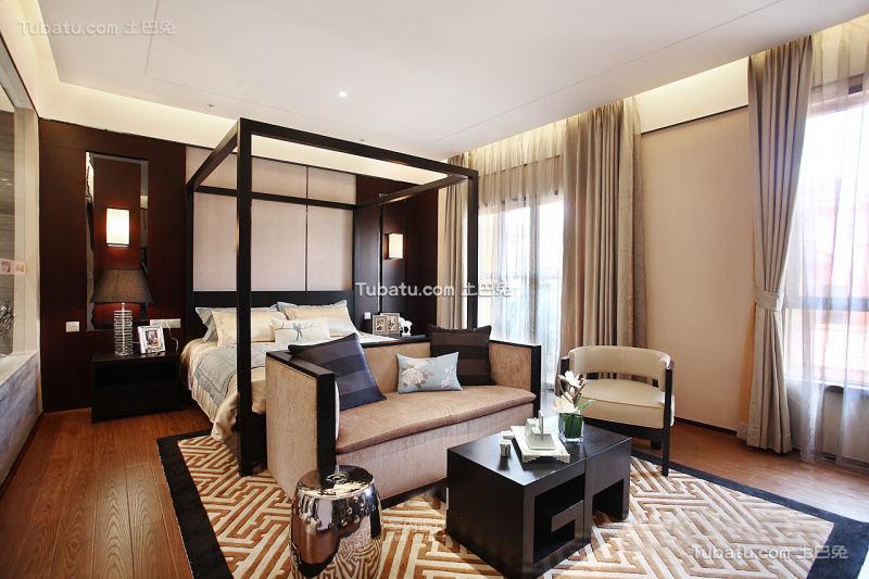 中式风格别墅大卧室装修图片大全