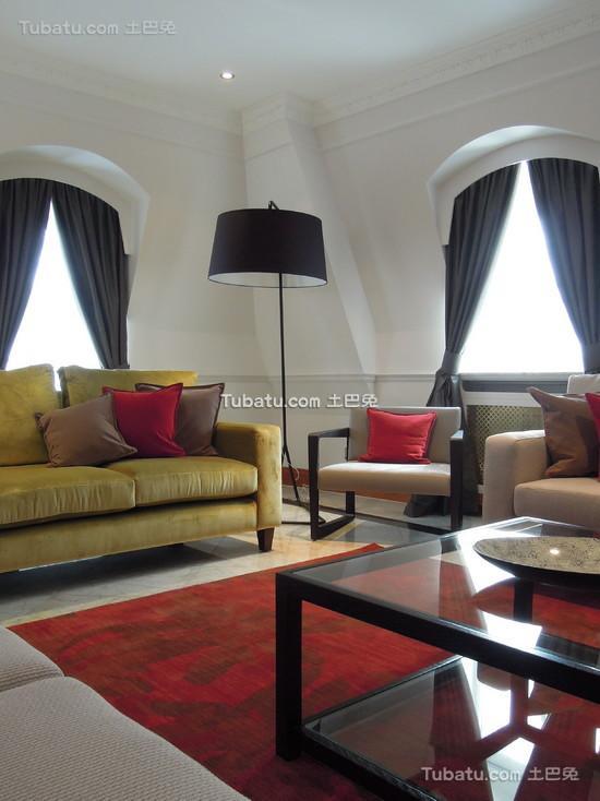 美式装修设计客厅窗帘效果图欣赏大全