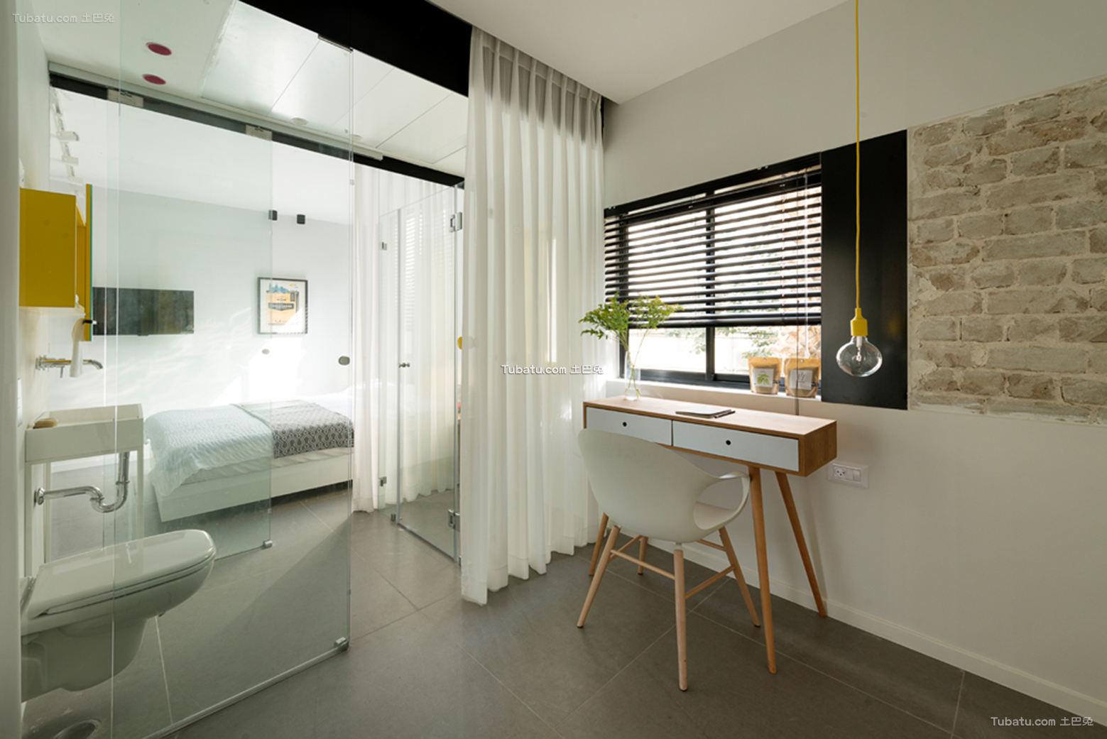 现代风格卧室玻璃隔断图片