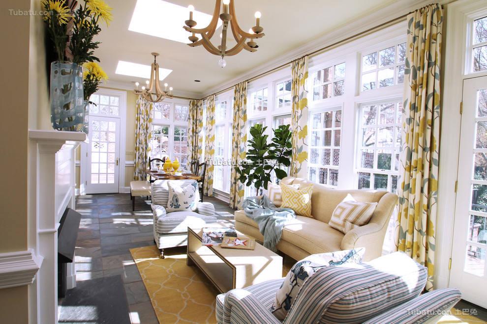 北欧风格时尚客厅窗帘效果图欣赏