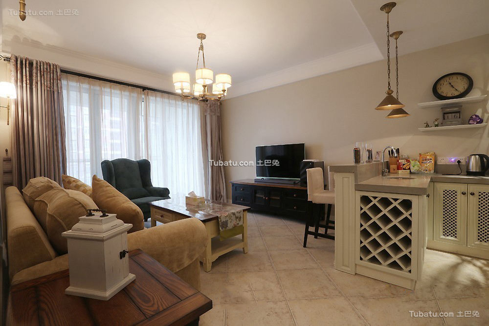 美式风格90平米家装二居室设计效果图