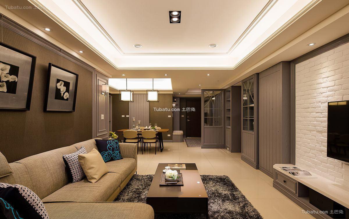 现代精装修客厅方形吊顶图片