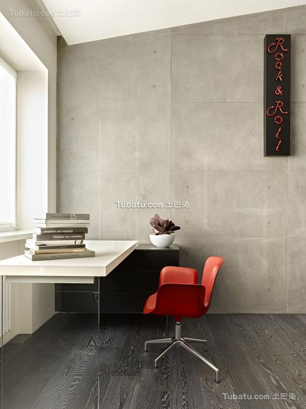 灰色调家居书房书台图片