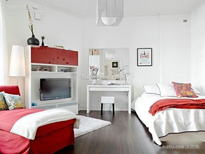 简约时尚装修设计卧室电视背景墙图片