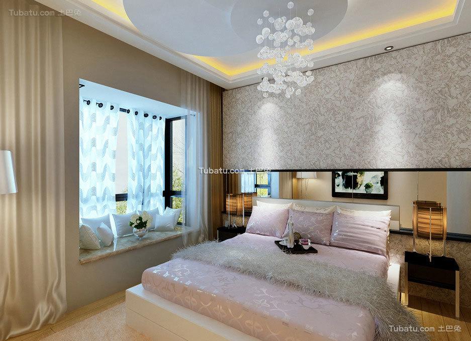 美式风格装修设计室内卧室飘窗图片