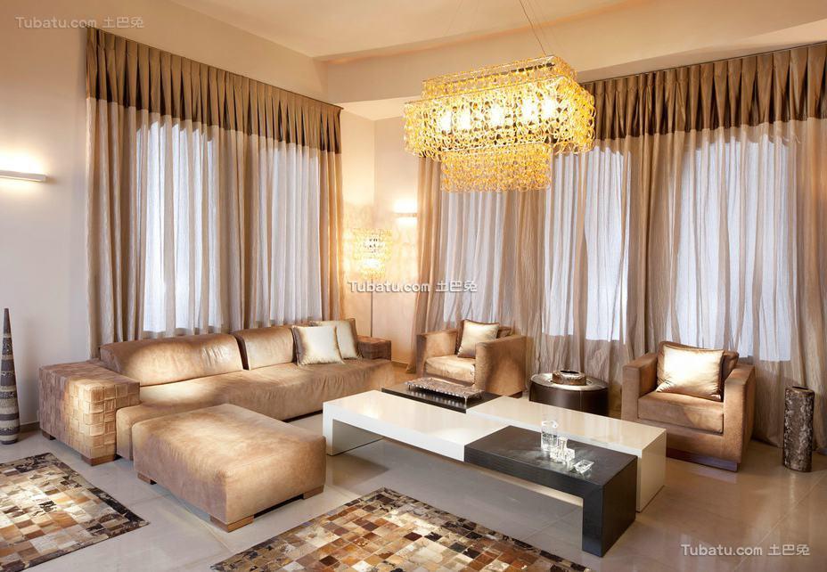 2015美式装修设计客厅窗帘效果图大全