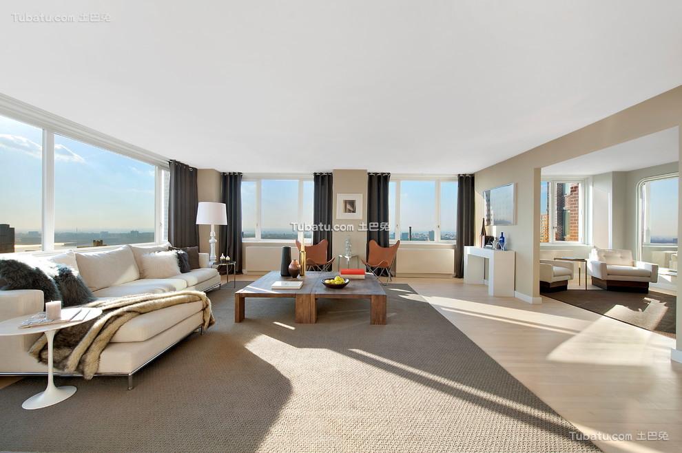 简约风格别墅客厅窗帘效果图