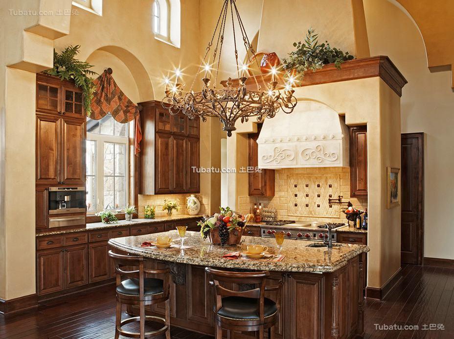 美式风格厨房窗帘图片大全