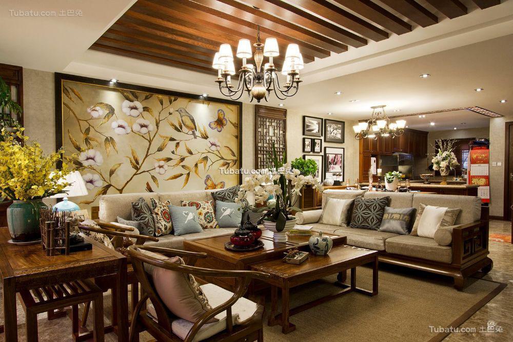 中式东南亚风格四居室装修图片大全
