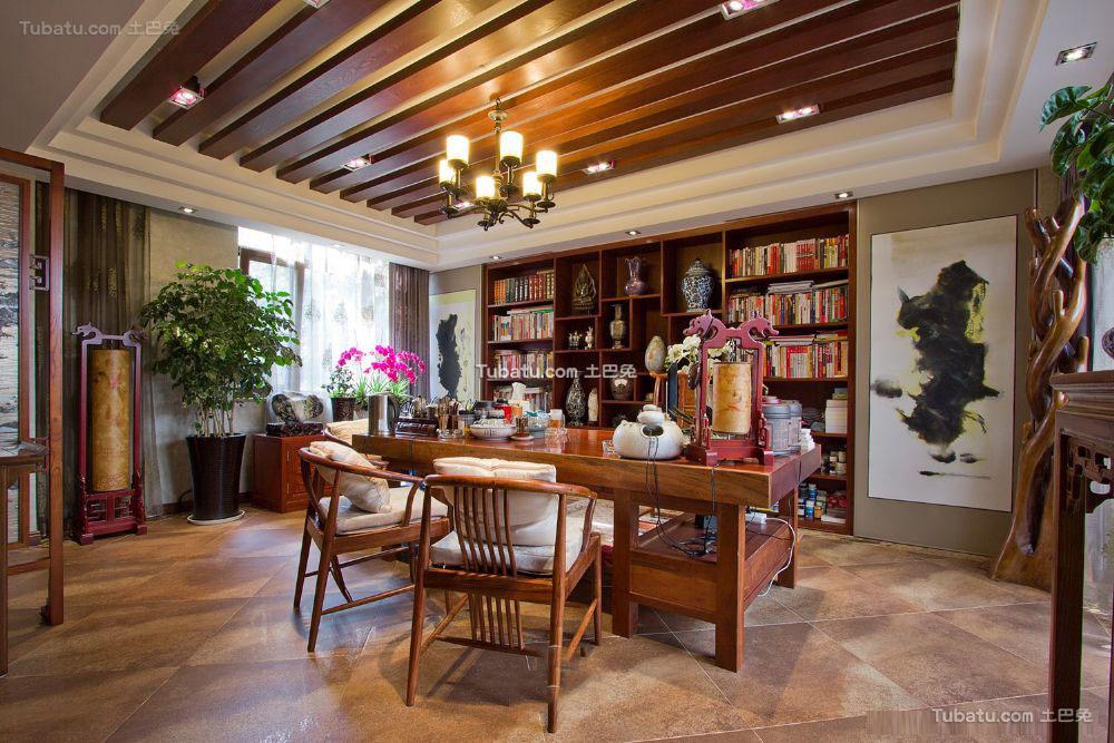 中式东南亚风格书房装修效果图大全