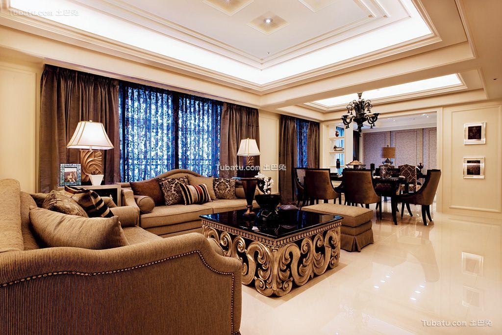 古典欧式风格装修三居室效果图