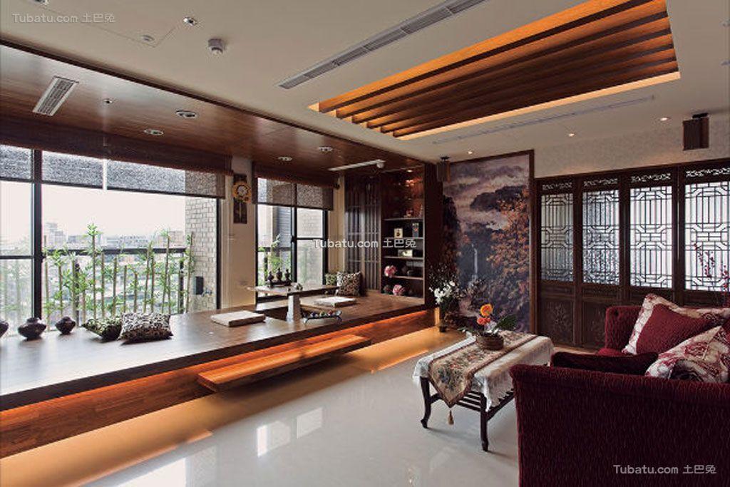 中式装修三居室效果图