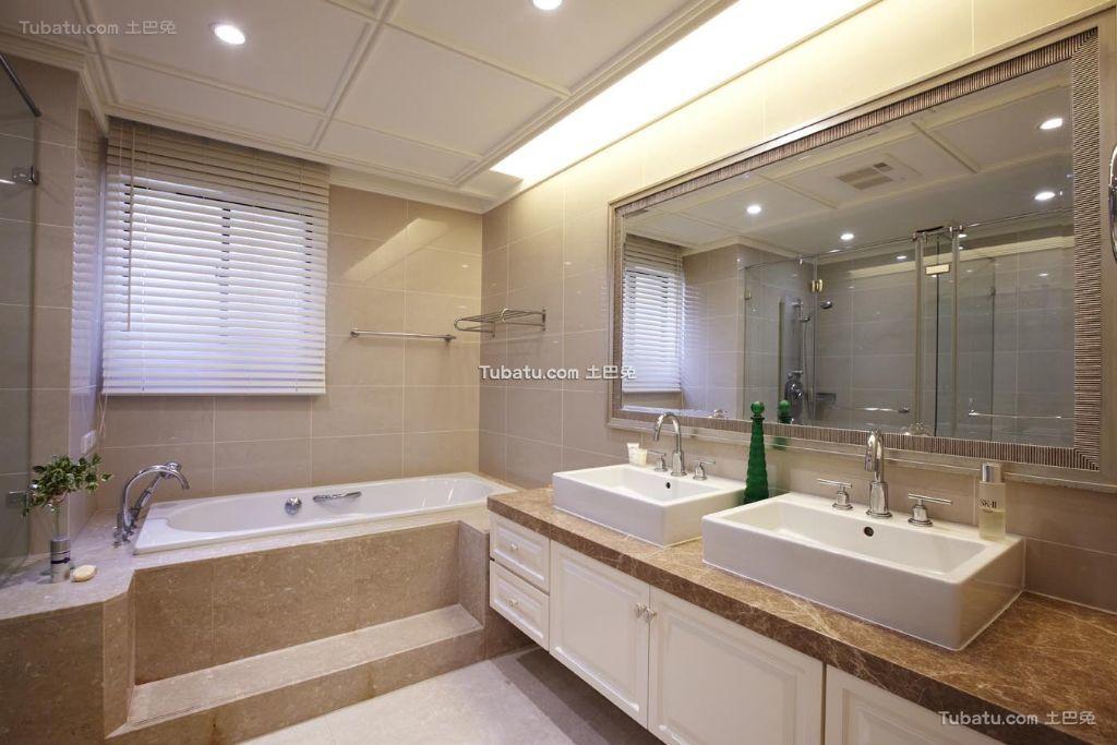 淡雅美式卫生间洗手台设计装修效果图