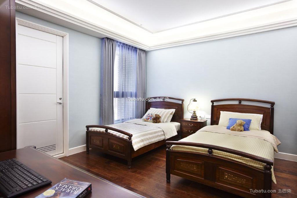 淡雅美式家居卧室双人房装修设计