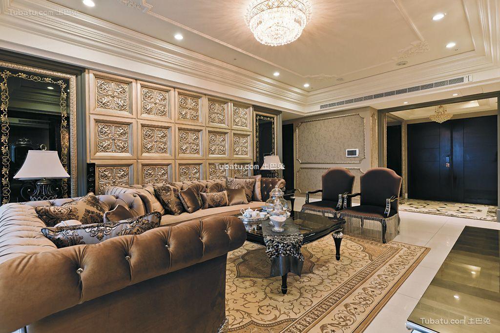 欧式奢华宫廷风三居室设计装修效果图