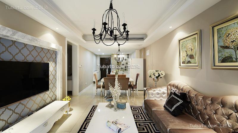 欧式轻奢华客厅设计装修效果图