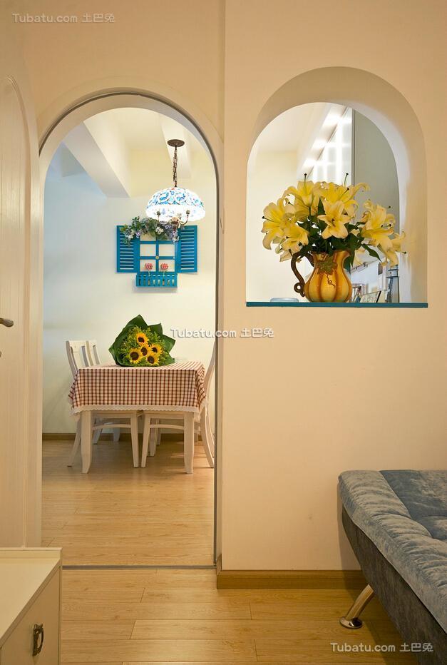 清新可爱地中海风格拱形门过道装修