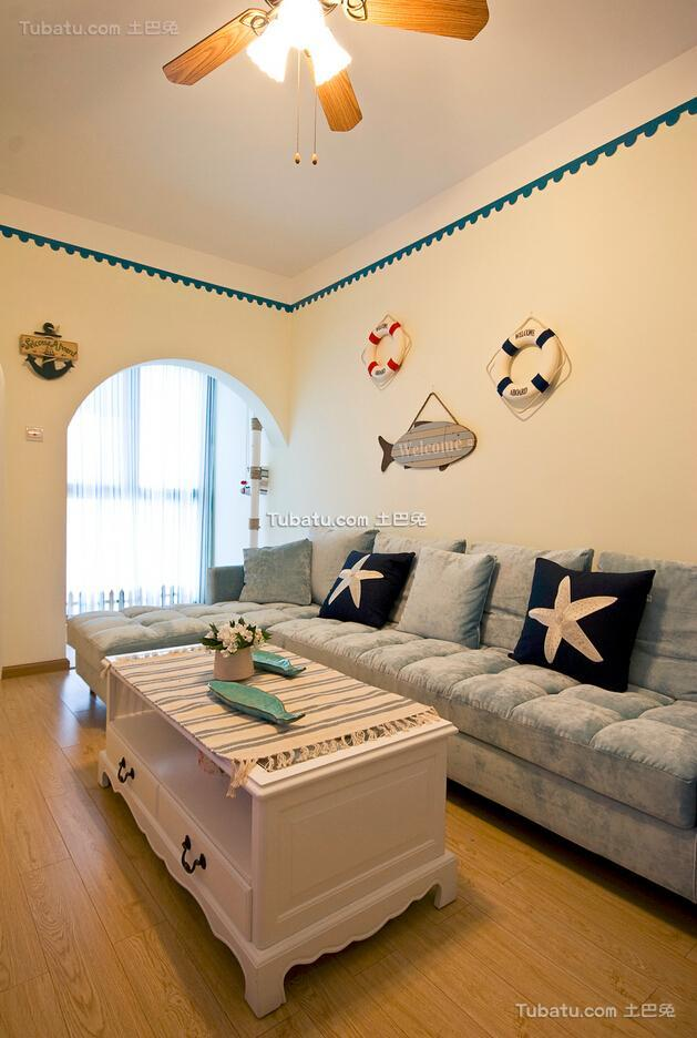 清新可爱地中海风格客厅装修效果图