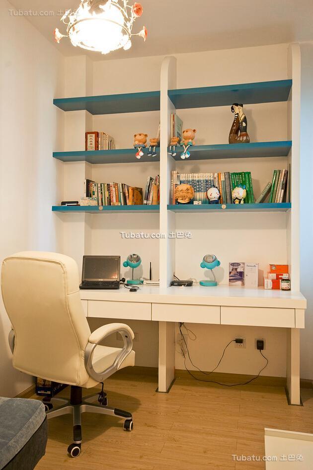 清新可爱地中海风格书房设计装修效果图