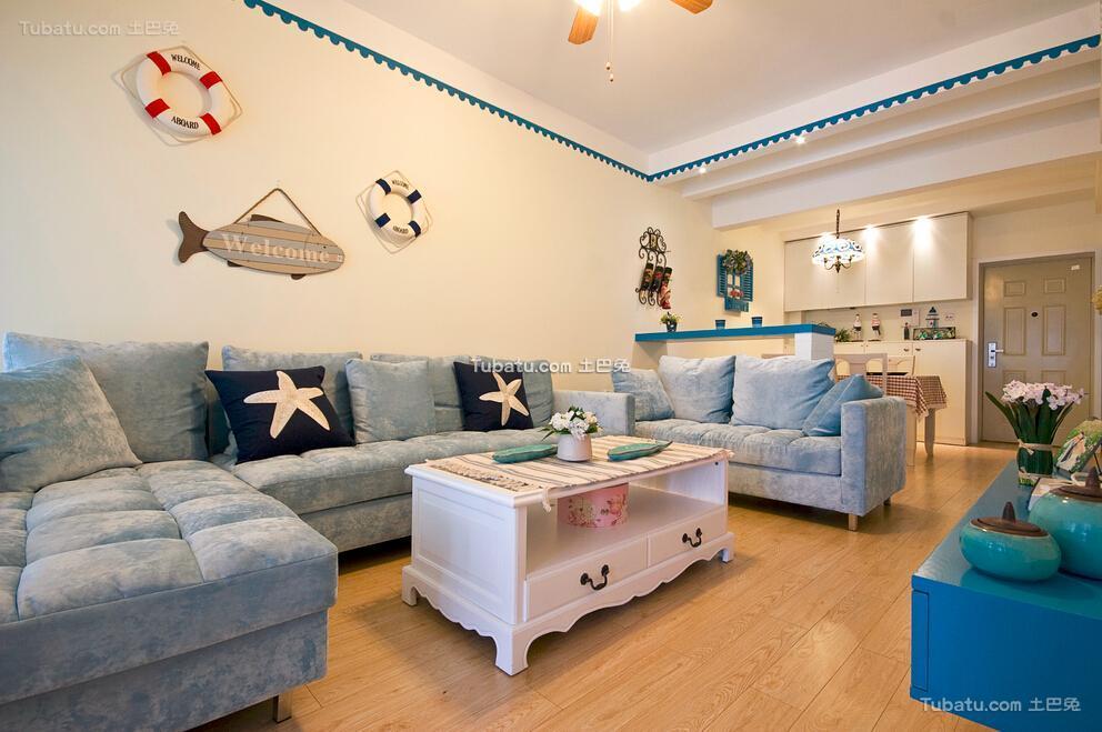 清新可爱地中海风格两居室家居设计装修效果图