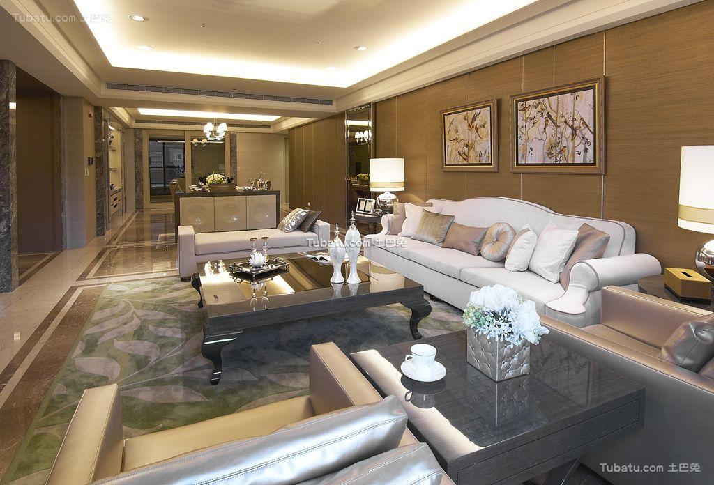 现代轻奢华优雅客厅局部家居设计装修