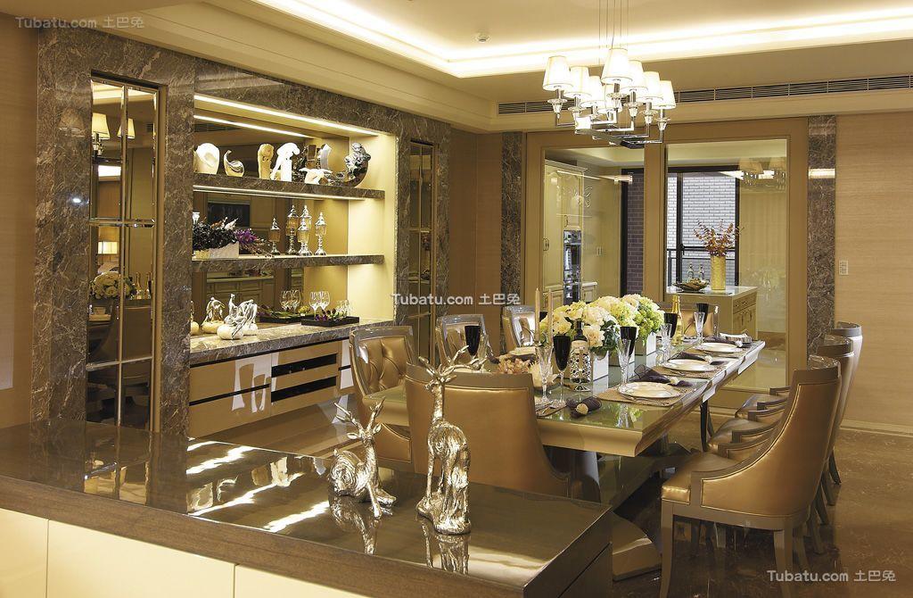 现代轻奢华优雅餐厅设计装修效果图
