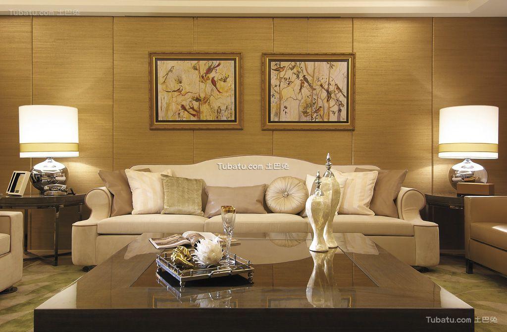 现代轻奢华优雅客厅局部设计装修效果图