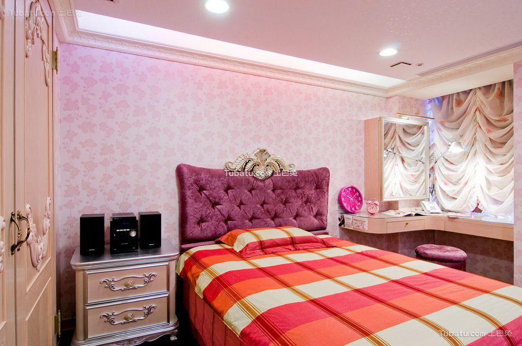 欧式家装主卧室窗帘图