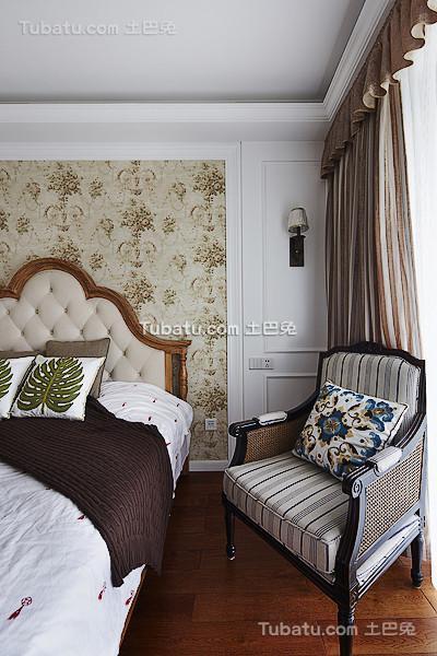 美式田园风卧室床头沙发椅