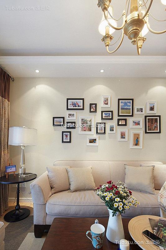 美式清新风格相片墙装修设计图