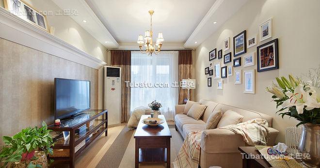 美式清新风格二居室装修图