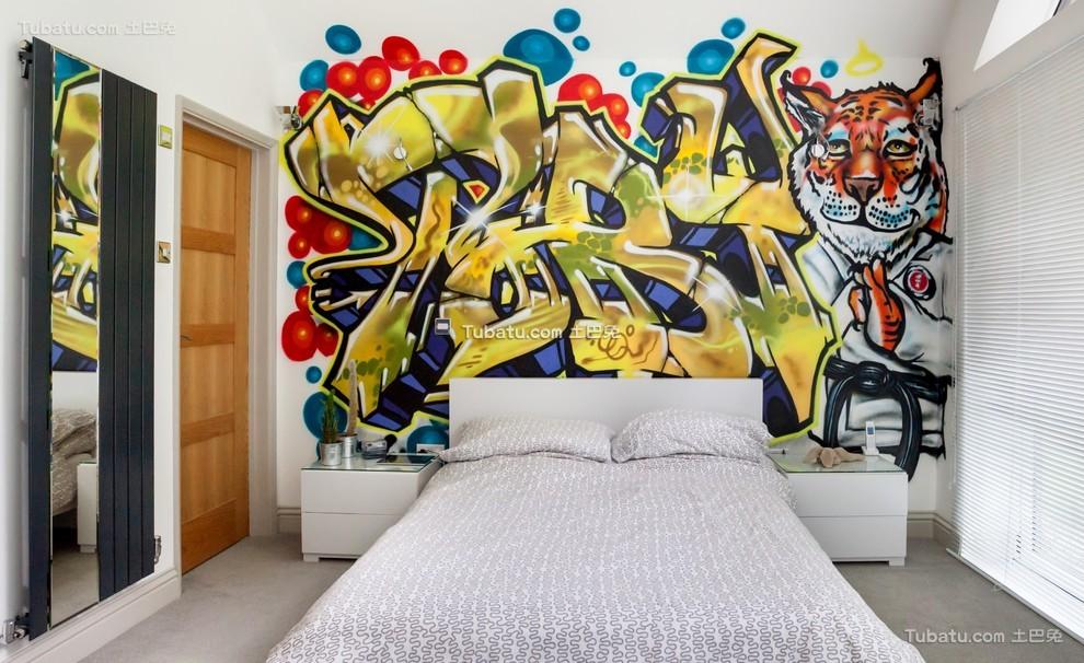 卧室涂鸦墙壁图片