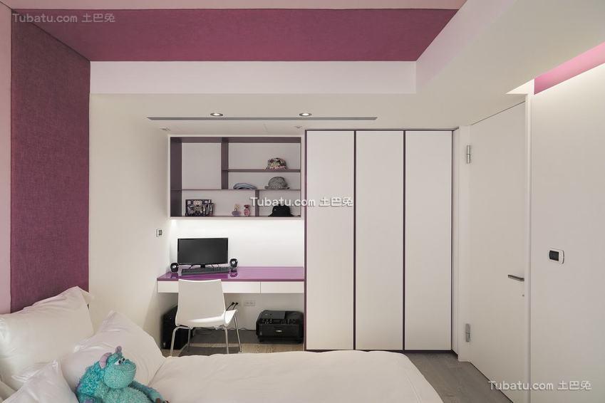美式卧室书房一体设计