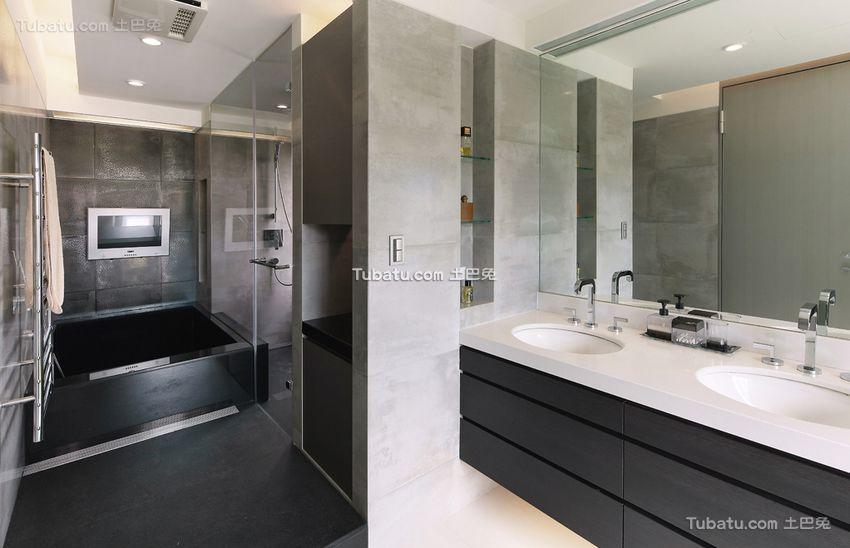 现代灰色质感卫生间装修