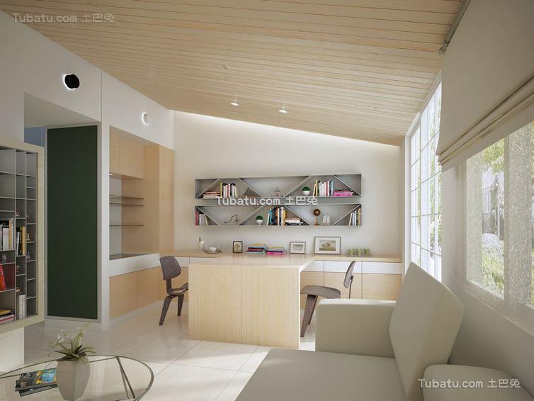 宜家风格复式书房装修图片