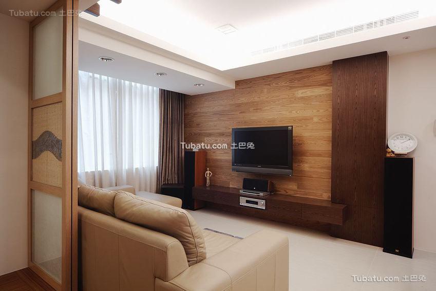 日式原木电视背景墙展示
