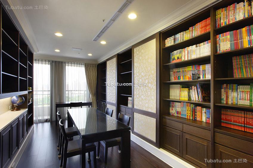实木现代风格书房装修设计图片